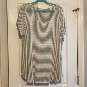 Gray and white striped tunic top